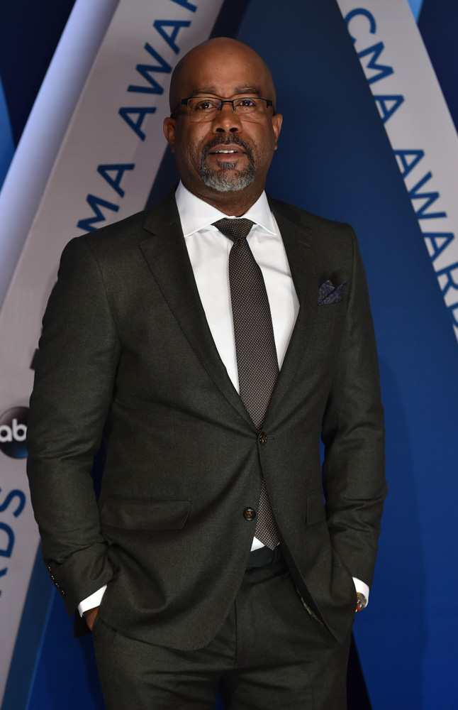 "<div class=""meta image-caption""><div class=""origin-logo origin-image none""><span>none</span></div><span class=""caption-text"">Darius Rucker arrives at the 51st annual CMA Awards on Wednesday, Nov. 8, 2017, in Nashville, Tenn. (Evan Agostini/Invision/AP)</span></div>"