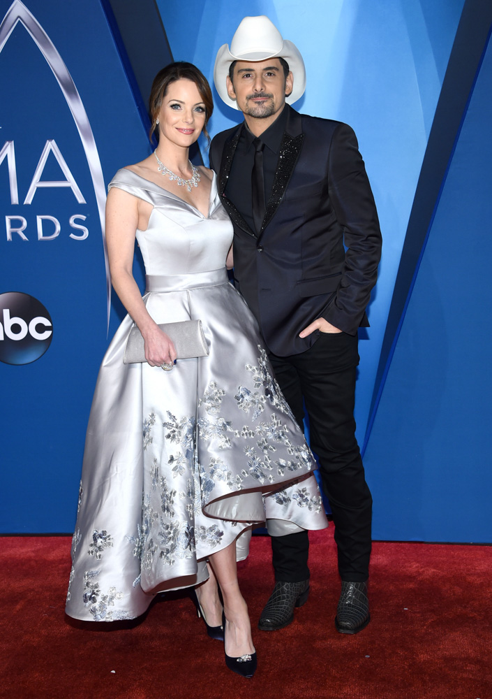 "<div class=""meta image-caption""><div class=""origin-logo origin-image none""><span>none</span></div><span class=""caption-text"">Kimberly Williams-Paisley, left, and Brad Paisley arrive at the 51st annual CMA Awards on Wednesday, Nov. 8, 2017, in Nashville, Tenn. (Evan Agostini/Invision/AP)</span></div>"