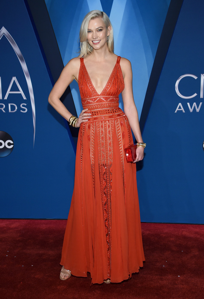 "<div class=""meta image-caption""><div class=""origin-logo origin-image none""><span>none</span></div><span class=""caption-text"">Karlie Kloss arrives at the 51st annual CMA Awards on Wednesday, Nov. 8, 2017, in Nashville, Tenn. (Evan Agostini/Invision/AP)</span></div>"