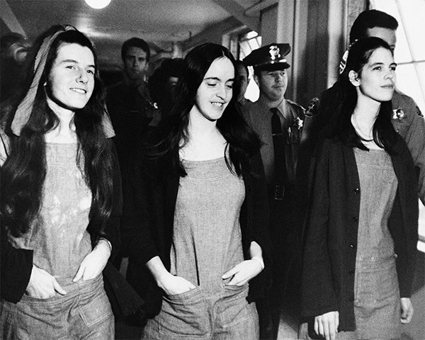 <div class='meta'><div class='origin-logo' data-origin='none'></div><span class='caption-text' data-credit='Photo/AP'>Three members of Charles Manson's clan leave a Los Angeles Courtroom just after being found guilty, along with Manson of first degree murder, Jan. 25, 1971.</span></div>