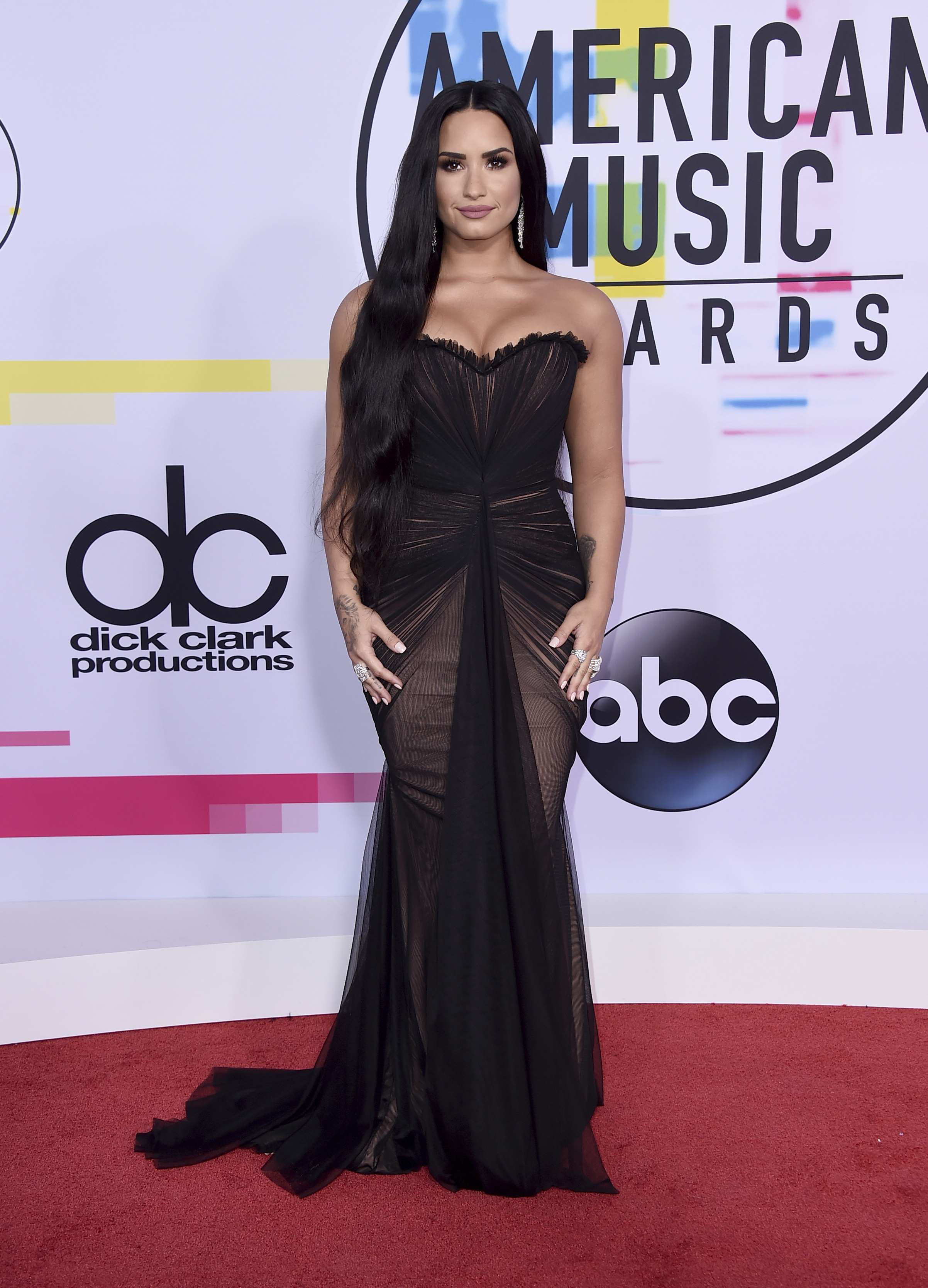 <div class='meta'><div class='origin-logo' data-origin='none'></div><span class='caption-text' data-credit='Jordan Strauss/Invision/AP'>Demi Lovato arrives at the American Music Awards at the Microsoft Theater on Sunday, Nov. 19, 2017, in Los Angeles.</span></div>