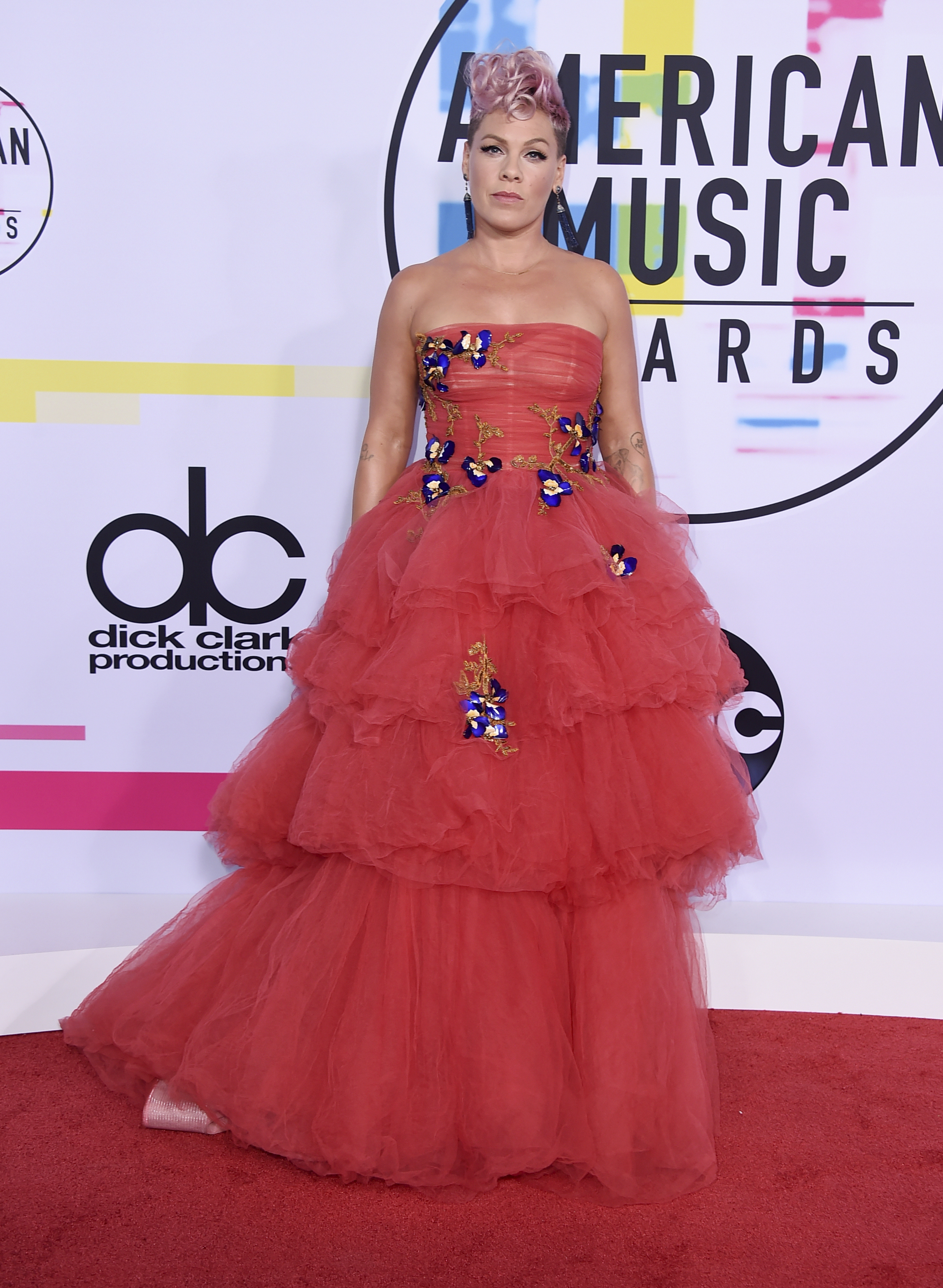 <div class='meta'><div class='origin-logo' data-origin='none'></div><span class='caption-text' data-credit='Jordan Strauss/Invision/AP'>Pink arrives at the American Music Awards at the Microsoft Theater on Sunday, Nov. 19, 2017, in Los Angeles.</span></div>