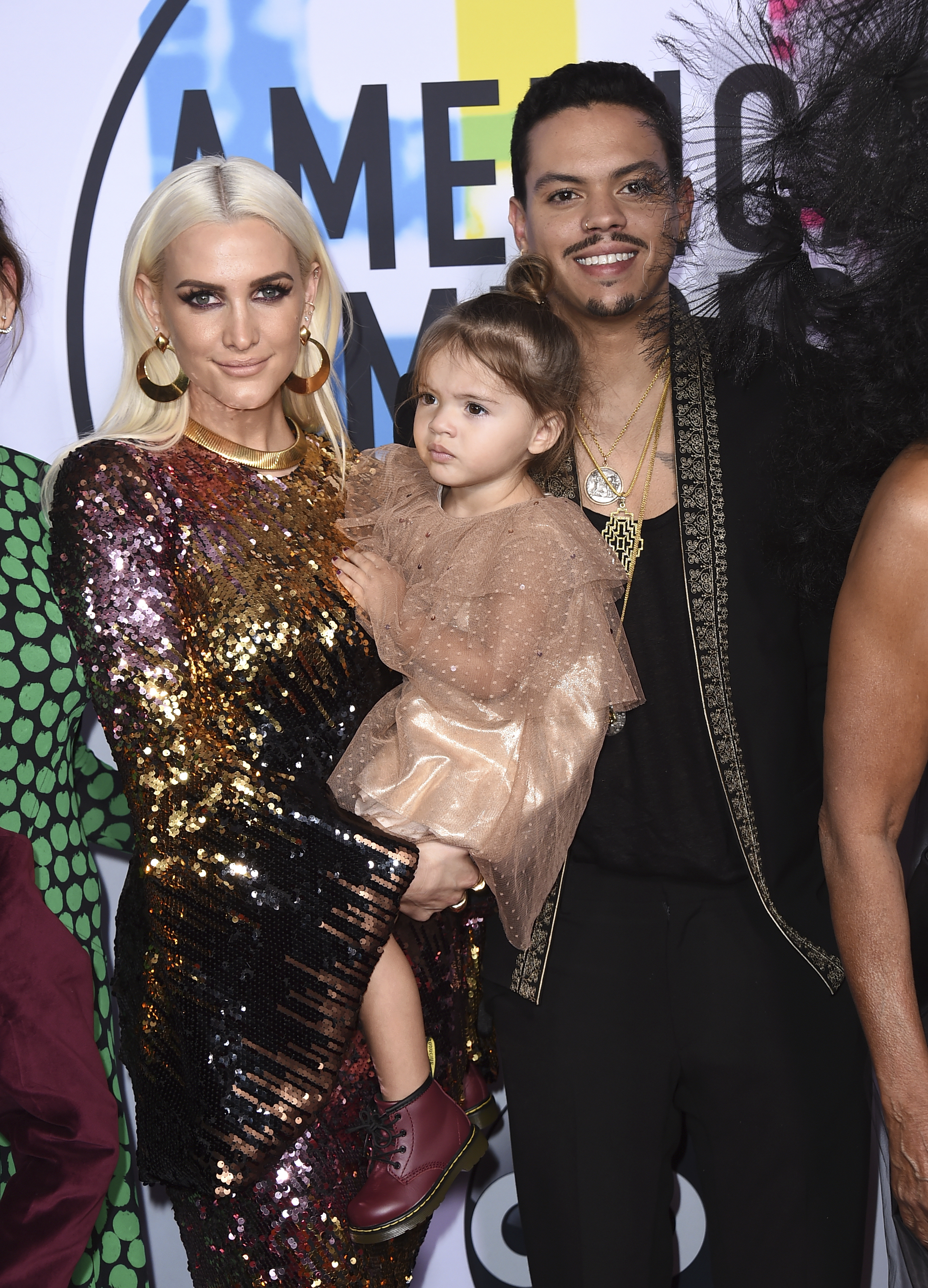 <div class='meta'><div class='origin-logo' data-origin='none'></div><span class='caption-text' data-credit='Jordan Strauss/Invision/AP'>Ashlee Simpson, from left, Jagger Snow Ross, and Evan Ross arrive at the American Music Awards at the Microsoft Theater on Sunday, Nov. 19, 2017, in Los Angeles.</span></div>