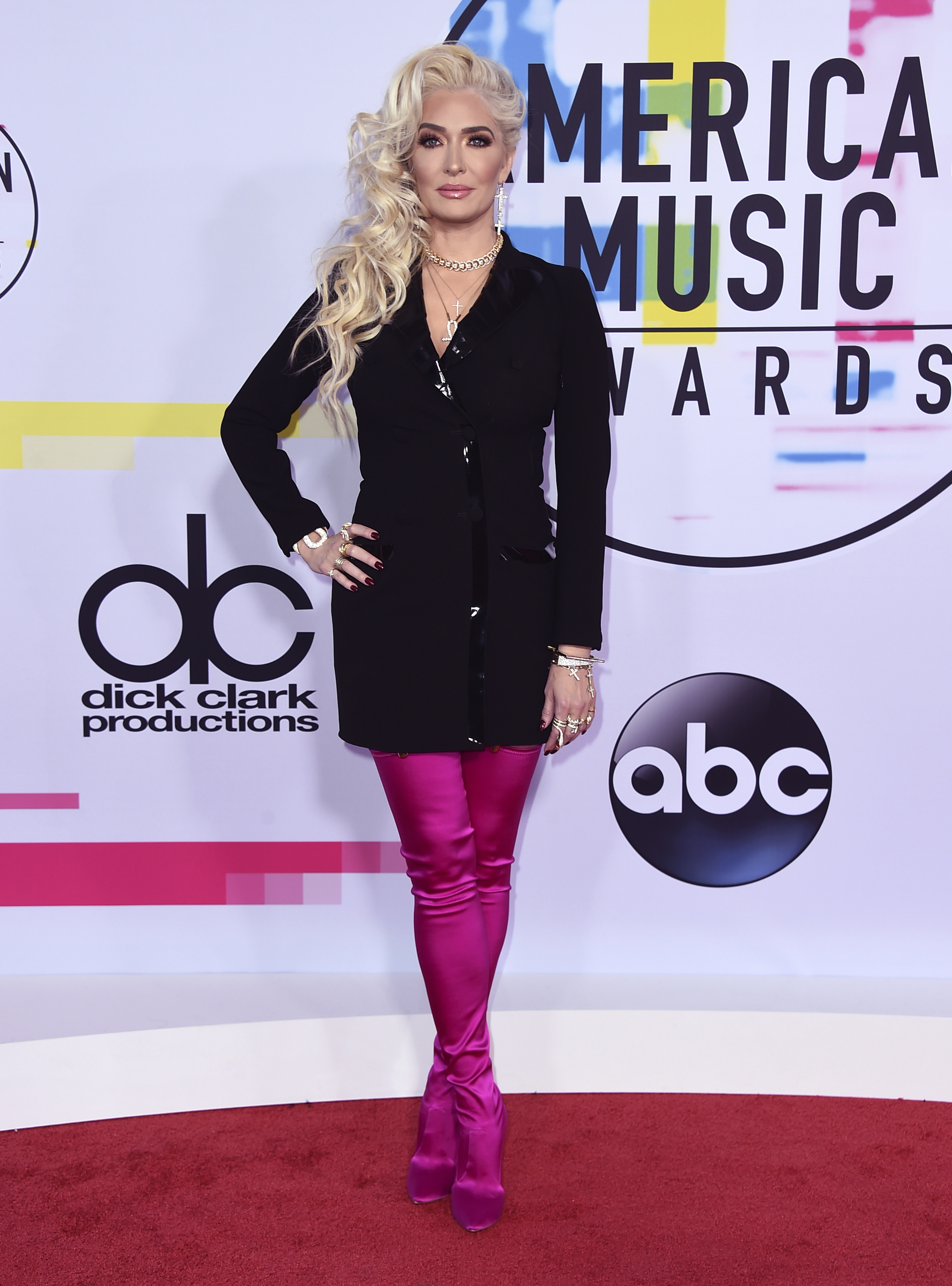 <div class='meta'><div class='origin-logo' data-origin='none'></div><span class='caption-text' data-credit='Jordan Strauss/Invision/AP'>Erika Jayne arrives at the American Music Awards at the Microsoft Theater on Sunday, Nov. 19, 2017, in Los Angeles.</span></div>