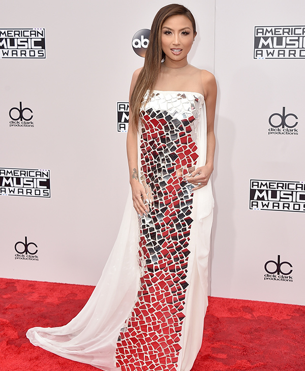 "<div class=""meta image-caption""><div class=""origin-logo origin-image none""><span>none</span></div><span class=""caption-text"">Jeannie Mai arrives at the American Music Awards at the Microsoft Theater on Sunday, Nov. 20, 2016, in Los Angeles. (Jordan Strauss/Invision/AP)</span></div>"
