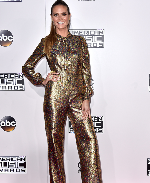 "<div class=""meta image-caption""><div class=""origin-logo origin-image none""><span>none</span></div><span class=""caption-text"">Heidi Klum arrives at the American Music Awards at the Microsoft Theater on Sunday, Nov. 20, 2016, in Los Angeles. (Jordan Strauss/Invision/AP)</span></div>"