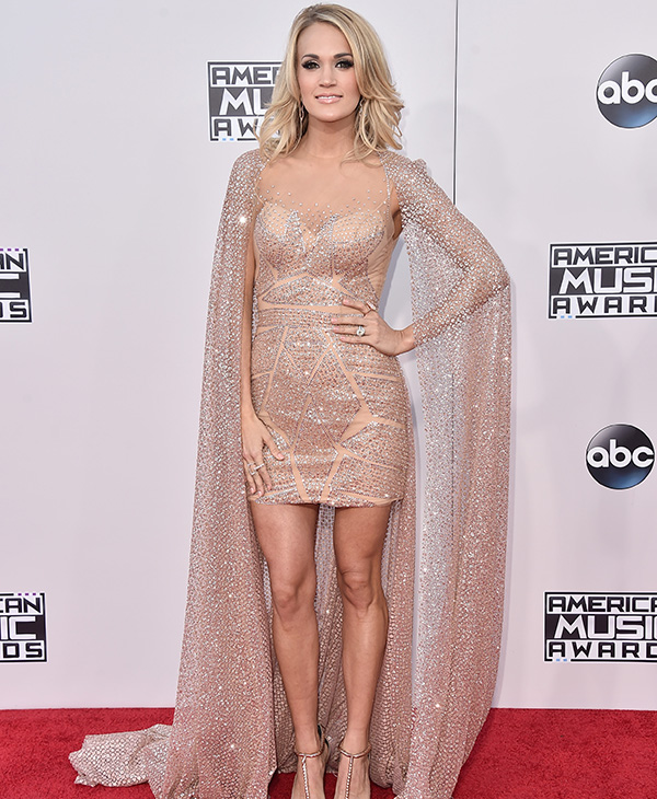 <div class='meta'><div class='origin-logo' data-origin='AP'></div><span class='caption-text' data-credit='Jordan Strauss/Invision/AP'>Carrie Underwood arrives at the American Music Awards at the Microsoft Theater on Sunday, Nov. 22, 2015, in Los Angeles.</span></div>
