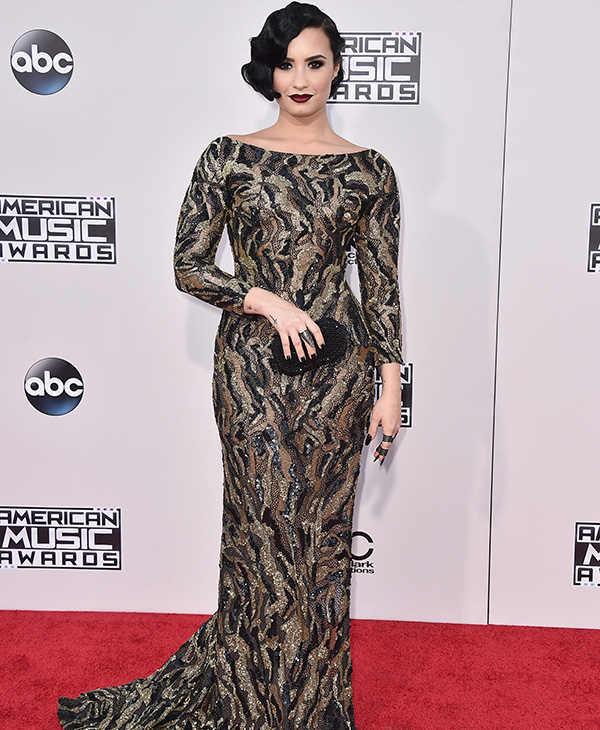 <div class='meta'><div class='origin-logo' data-origin='AP'></div><span class='caption-text' data-credit='Jordan Strauss/Invision/AP'>Demi Lovato arrives at the American Music Awards at the Microsoft Theater on Sunday, Nov. 22, 2015, in Los Angeles.</span></div>