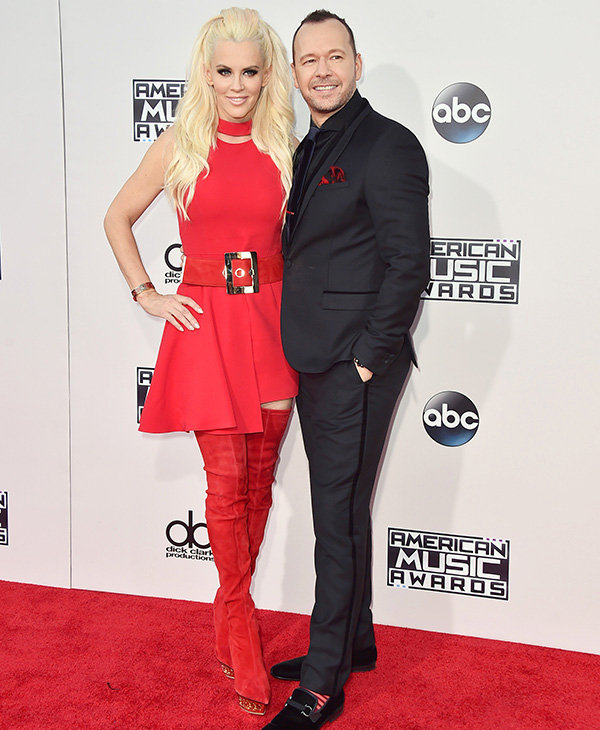 <div class='meta'><div class='origin-logo' data-origin='AP'></div><span class='caption-text' data-credit='Jordan Strauss/Invision/AP'>Jenny McCarthy, left, and Donnie Wahlberg arrive at the American Music Awards at the Microsoft Theater on Sunday, Nov. 22, 2015, in Los Angeles.</span></div>