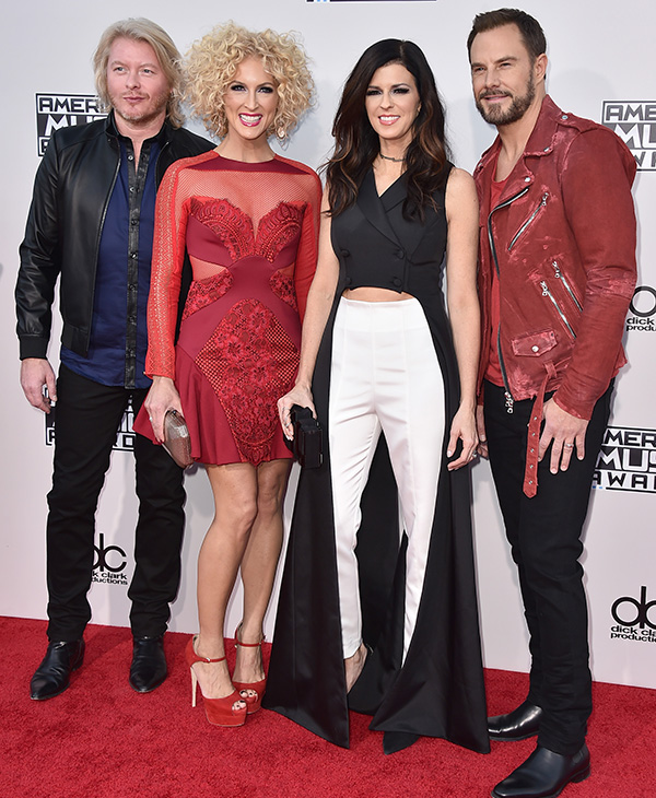 <div class='meta'><div class='origin-logo' data-origin='AP'></div><span class='caption-text' data-credit='Jordan Strauss/Invision/AP'>Philip Sweet, from left, Kimberly Schlapman, Karen Fairchild and Jimi Westbrook of Little Big Town arrive at the American Music Awards.</span></div>