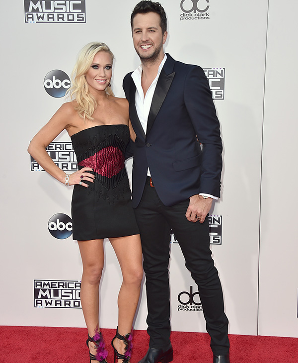 <div class='meta'><div class='origin-logo' data-origin='AP'></div><span class='caption-text' data-credit='Jordan Strauss/Invision/AP'>Luke Bryan, from right, and Caroline Boyer arrive at the American Music Awards at the Microsoft Theater on Sunday, Nov. 22, 2015, in Los Angeles.</span></div>