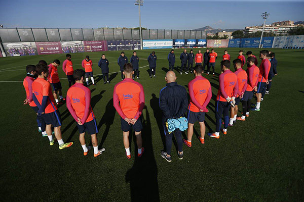 <div class='meta'><div class='origin-logo' data-origin='none'></div><span class='caption-text' data-credit='FC Barcelona/Twitter'>FC Barcelona shared a photo of a moment of silence the team took on Tuesday following a plane crash that killed members of Brazilian soccer team Chapecoense.</span></div>
