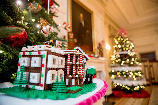 <div class='meta'><div class='origin-logo' data-origin='none'></div><span class='caption-text' data-credit='Andrew Harnik/AP Photo'>The White House is one of the fifty-six LEGO gingerbread houses, one for each state and territory, displayed in the trees in the State Dinning Room at the White House.</span></div>