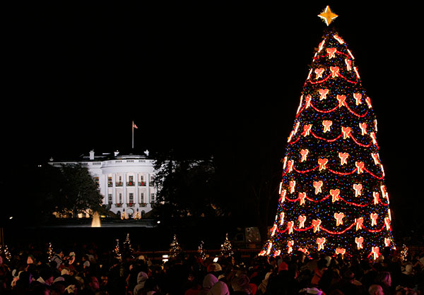 "<div class=""meta image-caption""><div class=""origin-logo origin-image none""><span>none</span></div><span class=""caption-text"">The National Christmas Tree shines bright with the White House in the background in Washington, Thursday, Dec. 5, 2007. (Susan Walsh/AP Photo)</span></div>"