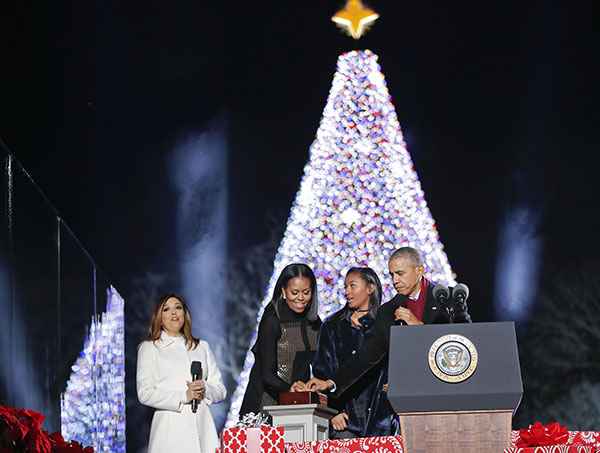 "<div class=""meta image-caption""><div class=""origin-logo origin-image none""><span>none</span></div><span class=""caption-text"">President Barack Obama, first lady Michelle Obama and their daughter Sasha lighting the 2016 National Christmas Tree on Dec. 1, 2016. (Pablo Martinez Monsivais/AP Photo)</span></div>"
