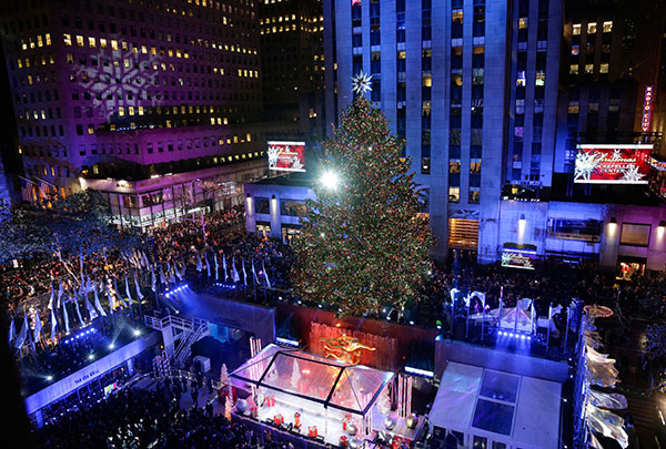 The Rockefeller Center Christmas tree stands lit during the lighting ceremony Wednesday Dec. 2 2015 in New York. & PHOTOS: Biggest Christmas tree lighting ceremonies around the ... azcodes.com
