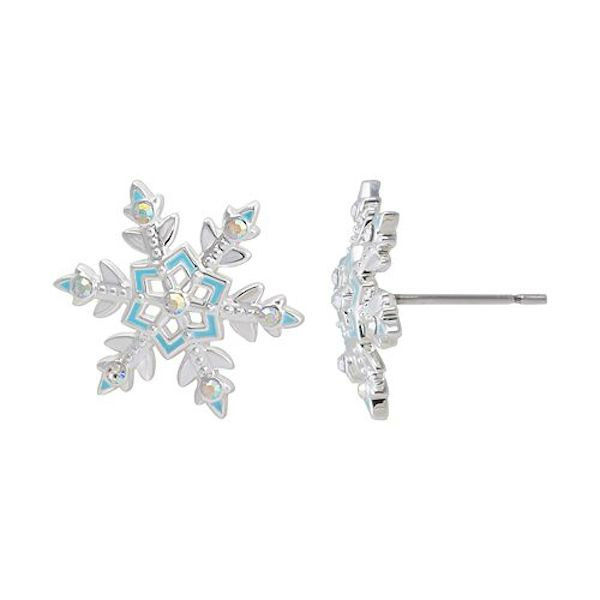 """<div class=""""meta image-caption""""><div class=""""origin-logo origin-image """"><span></span></div><span class=""""caption-text"""">Crystal silver-plated snowflake stud earrings - For fans of Elsa, these snowflake earrings are sure to impress. (Kohl's)</span></div>"""