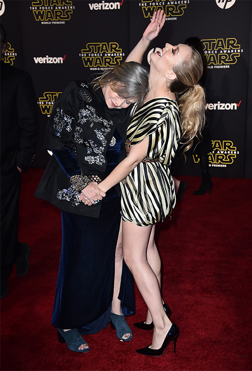 <div class='meta'><div class='origin-logo' data-origin='none'></div><span class='caption-text' data-credit='Jordan Strauss/Invision/AP'>Carrie Fisher, left, and daughter Billie Lourd arrive at the world premiere of &#34;Star Wars: The Force Awakens&#34; at the TCL Chinese Theatre on Monday, Dec. 14, 2015, in Los Angeles.</span></div>