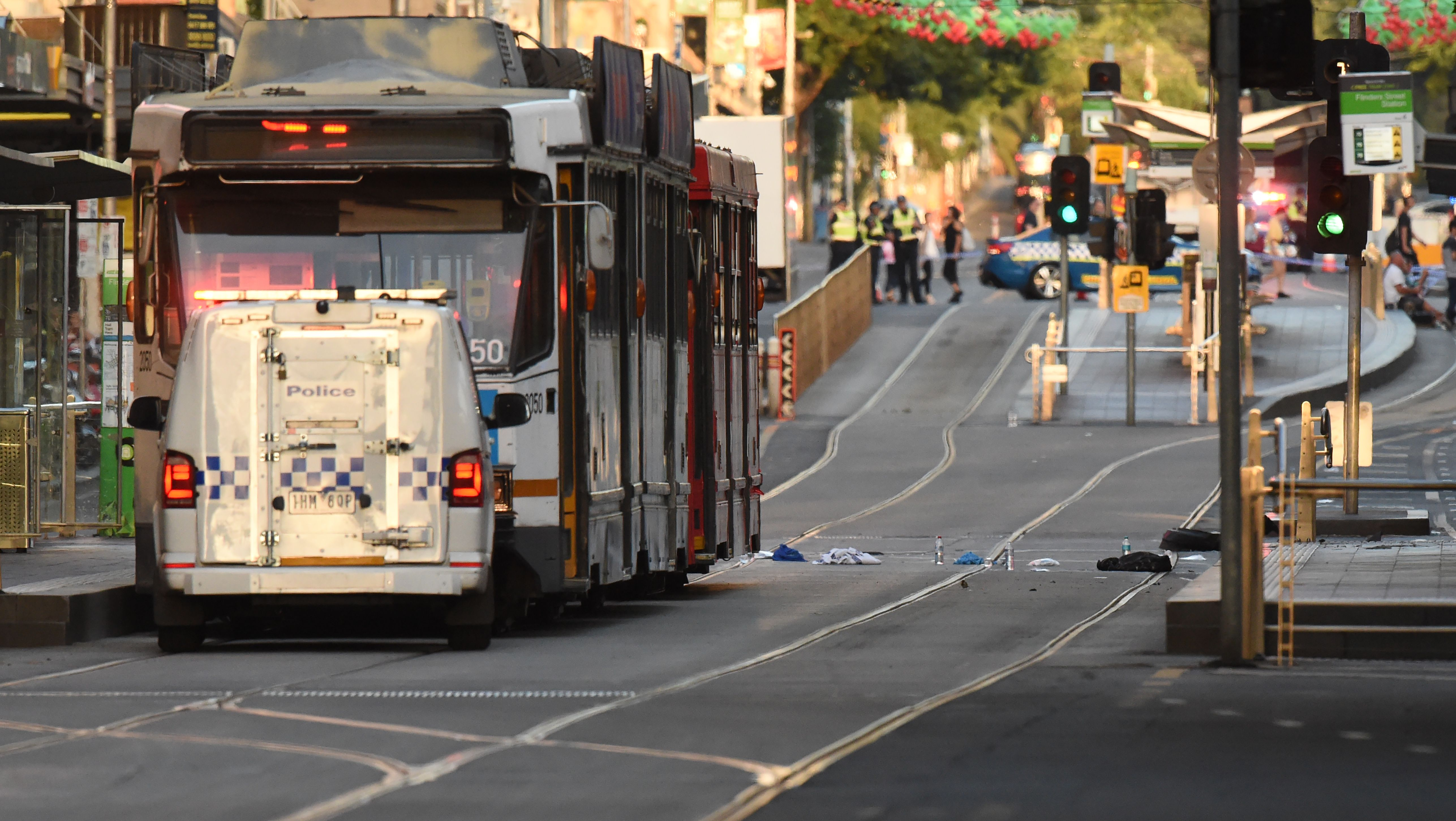 "<div class=""meta image-caption""><div class=""origin-logo origin-image none""><span>none</span></div><span class=""caption-text"">Debris sits in the middle of the road at the scene where a car ran over pedestrians in downtown Melbourne on December 21, 2017. (MAL FAIRCLOUGH/AFP/Getty Images)</span></div>"