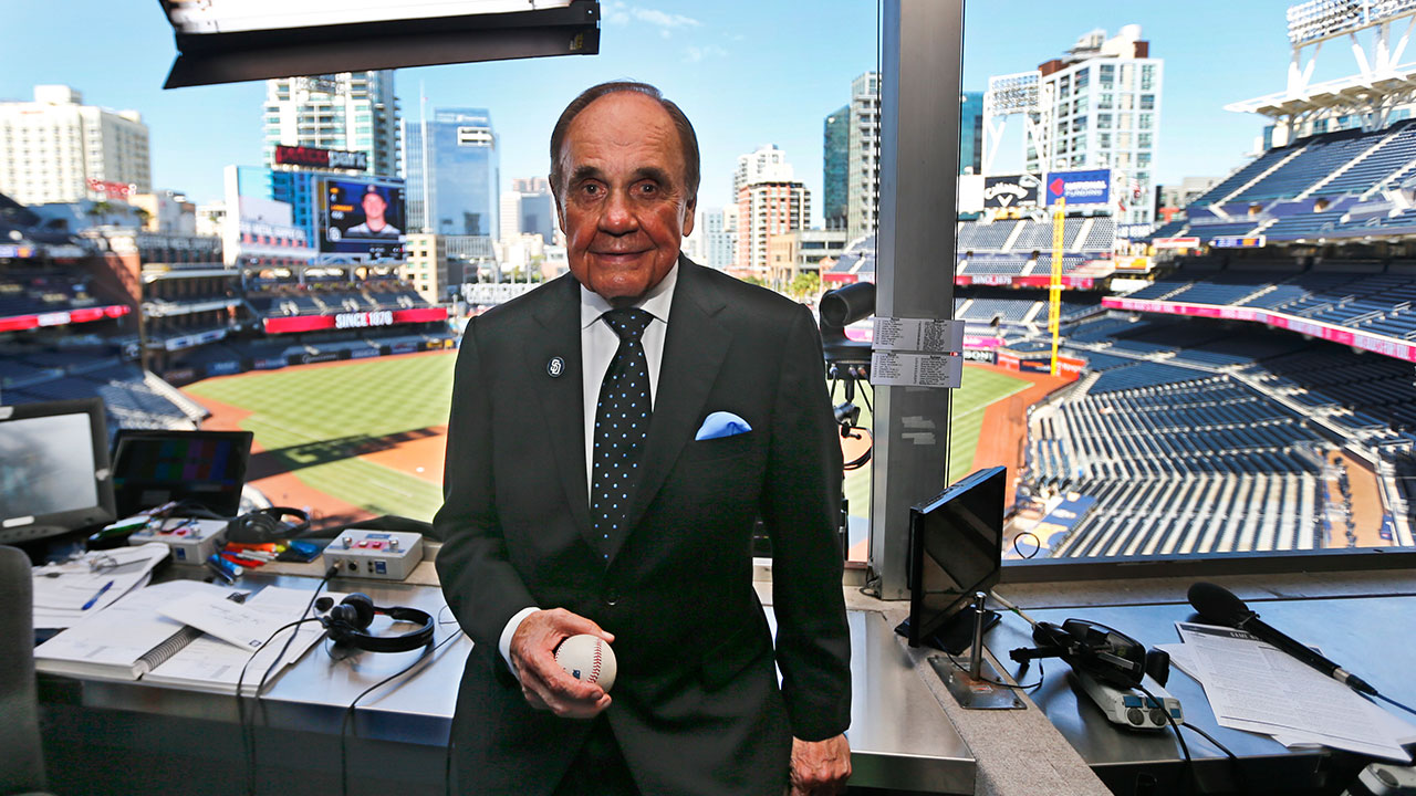 <div class='meta'><div class='origin-logo' data-origin='none'></div><span class='caption-text' data-credit='Lenny Ignelzi/AP Photo'>Famed sportscaster Dick Enberg died Dec. 21, 2017 at age 82.</span></div>