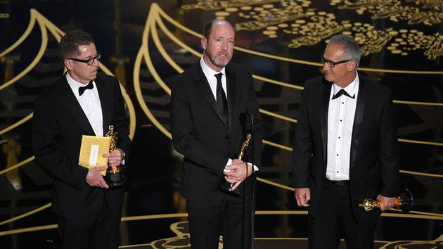 <div class='meta'><div class='origin-logo' data-origin='AP'></div><span class='caption-text' data-credit='Chris Pizzello/Invision/AP'>Gregg Rudloff, from left, Chris Jenkins, and Ben Osmo accept the award for best sound mixing for 'Mad Max: Fury Road' at the Oscars on Sunday, Feb. 28, 2016, at the Dolby Theatre.</span></div>