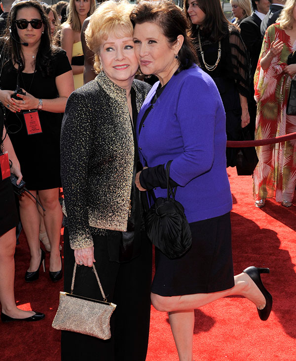 <div class='meta'><div class='origin-logo' data-origin='AP'></div><span class='caption-text' data-credit='AP Photo/Chris Pizzello'>Debbie Reynolds, left, and Carrie Fisher arrive at the Primetime Creative Arts Emmy Awards on Saturday Sept. 10, 2011 in Los Angeles.</span></div>