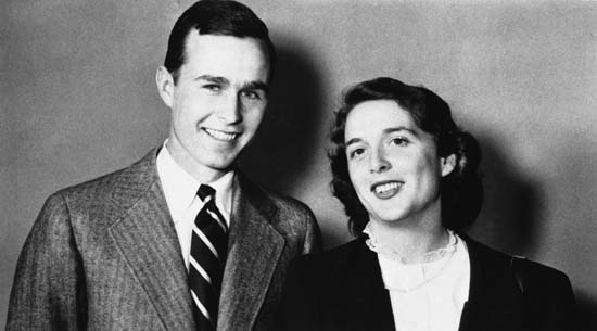 <div class='meta'><div class='origin-logo' data-origin='none'></div><span class='caption-text' data-credit='AP'>George Bush is shown with wife Barbara in 1945. (AP Photo)</span></div>
