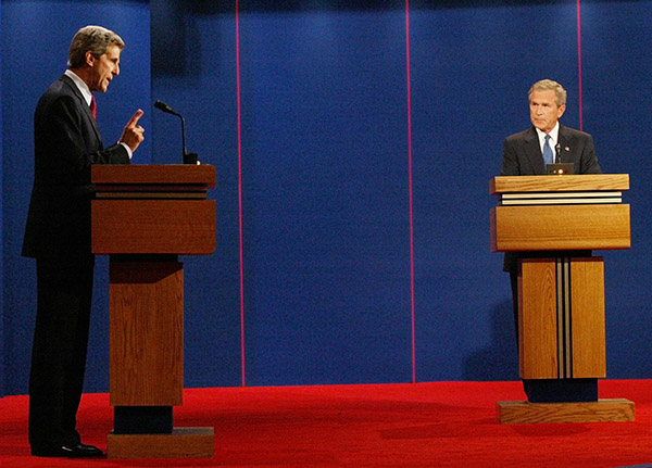 <div class='meta'><div class='origin-logo' data-origin='AP'></div><span class='caption-text' data-credit='Wilfredo Lee/AP'>Democratic presidential candidate Sen. John Kerry, D-Mass., left ,speaks as President Bush listens during the presidential debate in Coral Gables, Fla. Thursday Sept. 30, 2004.</span></div>