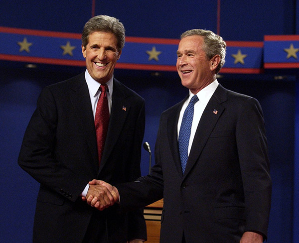 <div class='meta'><div class='origin-logo' data-origin='AP'></div><span class='caption-text' data-credit='Gerald Herbert/AP'>President Bush and Democratic presidential nominee John Kerry, D-Mass., shake hands before the start their debate at the University of Miami in Coral Gables, Fla., Sept. 30, 2004.</span></div>