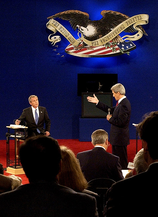 <div class='meta'><div class='origin-logo' data-origin='AP'></div><span class='caption-text' data-credit='Charlie Riedel/AP'>Democratic presidential candidate John Kerry answers a question during the presidential debate Friday, Oct. 8, 2004, at Washington University in St. Louis.</span></div>