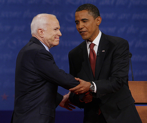 <div class='meta'><div class='origin-logo' data-origin='AP'></div><span class='caption-text' data-credit='Charles Dharapak/AP'>John McCain shakes hands with Barack Obama prior to the start of the presidential debate, Sept. 26, 2008, at the University of Mississippi</span></div>