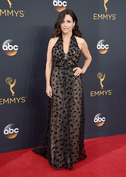 <div class='meta'><div class='origin-logo' data-origin='AP'></div><span class='caption-text' data-credit='Phil McCarten/Invision/AP'>Julia Louis-Dreyfus arrives at the 68th Primetime Emmy Awards on Sunday, Sept. 18, 2016, at the Microsoft Theater in Los Angeles.</span></div>