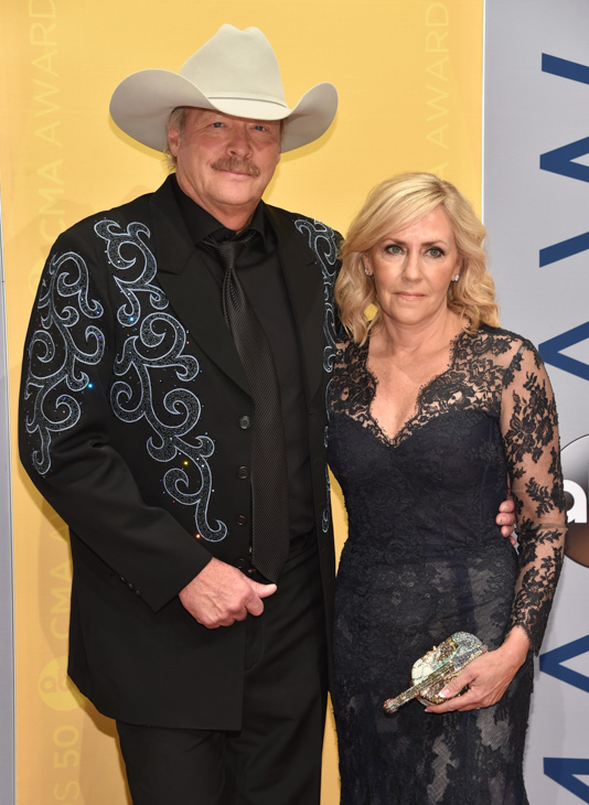 "<div class=""meta image-caption""><div class=""origin-logo origin-image none""><span>none</span></div><span class=""caption-text"">Alan Jackson, left, and Denise Jackson arrive at the 50th annual CMA Awards at the Bridgestone Arena on Wednesday, Nov. 2, 2016, in Nashville, Tenn. (Evan Agostini/Invision/AP)</span></div>"