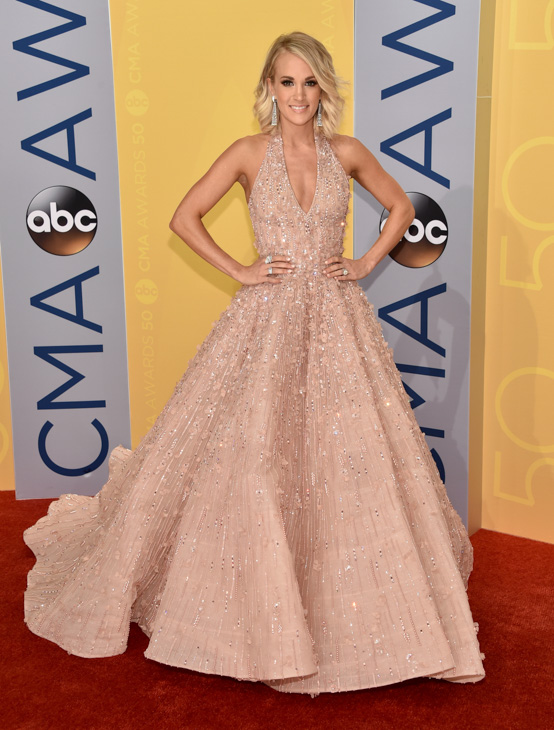 "<div class=""meta image-caption""><div class=""origin-logo origin-image none""><span>none</span></div><span class=""caption-text"">Carrie Underwood arrives at the 50th annual CMA Awards at the Bridgestone Arena on Wednesday, Nov. 2, 2016, in Nashville, Tenn. (Evan Agostini/Invision/AP)</span></div>"