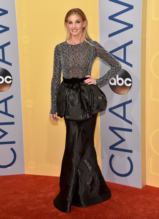 "<div class=""meta image-caption""><div class=""origin-logo origin-image none""><span>none</span></div><span class=""caption-text"">Faith Hill arrives at the 50th annual CMA Awards at the Bridgestone Arena on Wednesday, Nov. 2, 2016, in Nashville, Tenn. (Evan Agostini/Invision/AP)</span></div>"