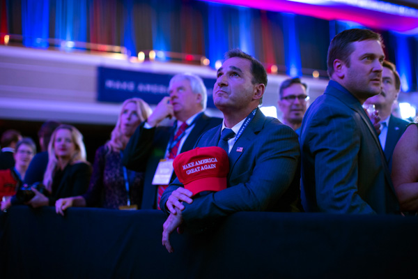 <div class='meta'><div class='origin-logo' data-origin='none'></div><span class='caption-text' data-credit='Evan Vucci/AP Photo'>Supporters of Republican presidential candidate Donald Trump watch election results during an election night rally, Tuesday, Nov. 8, 2016, in New York.</span></div>