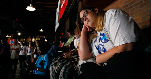 <div class='meta'><div class='origin-logo' data-origin='none'></div><span class='caption-text' data-credit='Rogelio V. Solis/AP Photo'>Stephanie Baile, intern for Democratic presidential candidate Hillary Clinton, watches the growing number of national votes for Republican Donald Trump on Tuesday, Nov. 8, 2016.</span></div>