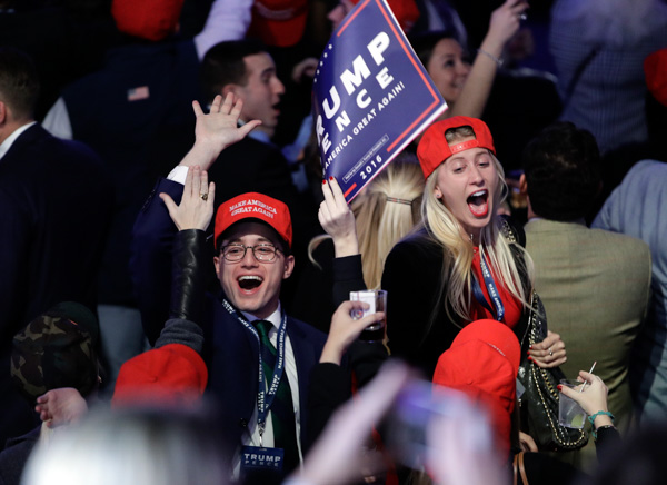 "<div class=""meta image-caption""><div class=""origin-logo origin-image none""><span>none</span></div><span class=""caption-text"">Supporters of Republican presidential candidate Donald Trump react as they watch the election results during Trump's election night rally, Tuesday, Nov. 8, 2016, in New York. (John Locher/AP)</span></div>"