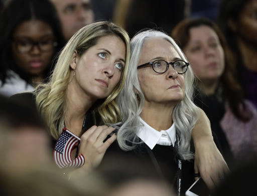 "<div class=""meta image-caption""><div class=""origin-logo origin-image ap""><span>AP</span></div><span class=""caption-text"">Women watch election results during Democratic presidential nominee Hillary Clinton's election night rally in the Jacob Javits Center glass enclosed lobby in New York. (AP Photo/Frank Franklin II)</span></div>"