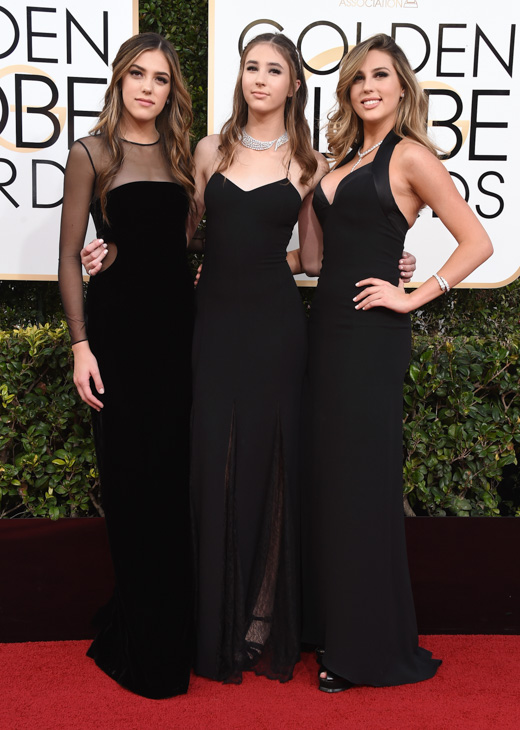 <div class='meta'><div class='origin-logo' data-origin='none'></div><span class='caption-text' data-credit='Jordan Strauss/Invision/AP'>Miss Golden Globes, Sistine Stallone, from left, Scarlet Stallone and Sophia Stallone arrive at the 74th annual Golden Globe Awards.</span></div>