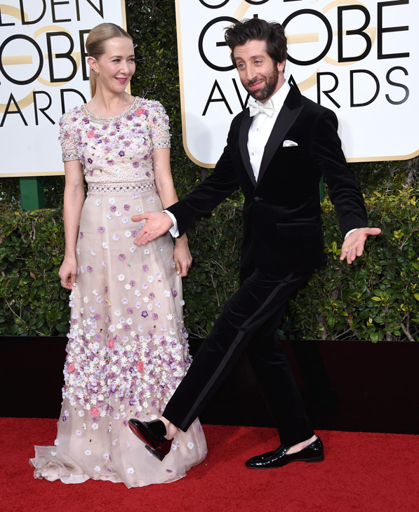 <div class='meta'><div class='origin-logo' data-origin='none'></div><span class='caption-text' data-credit='Jordan Strauss/Invision/AP'>Jocelyn Towne, left, and Simon Helberg arrive at the 74th annual Golden Globe Awards at the Beverly Hilton Hotel on Sunday, Jan. 8, 2017, in Beverly Hills, Calif.</span></div>