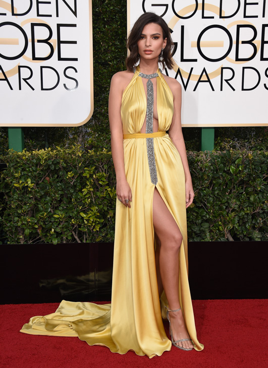 <div class='meta'><div class='origin-logo' data-origin='none'></div><span class='caption-text' data-credit='Jordan Strauss/Invision/AP'>Emily Ratajkowski arrives at the 74th annual Golden Globe Awards at the Beverly Hilton Hotel on Sunday, Jan. 8, 2017, in Beverly Hills, Calif.</span></div>