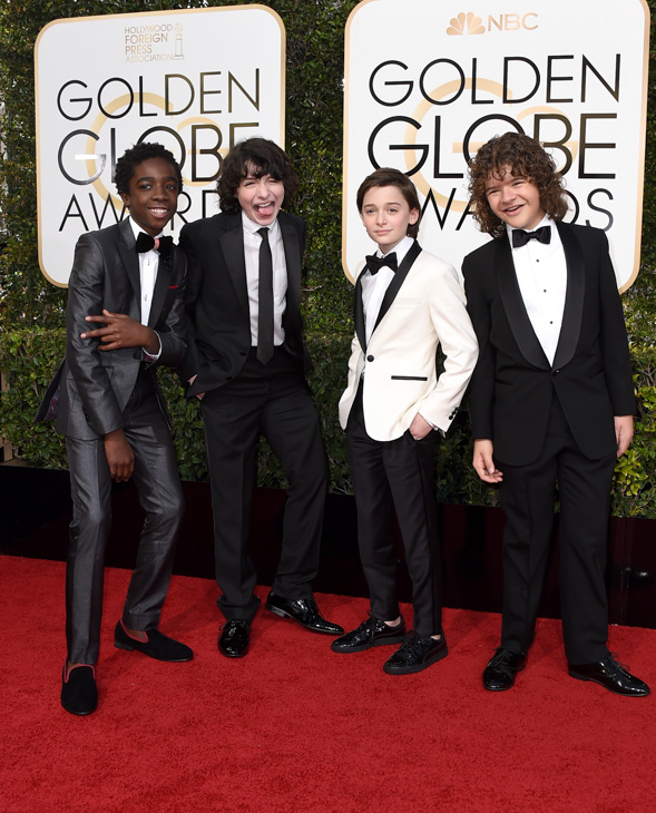 <div class='meta'><div class='origin-logo' data-origin='none'></div><span class='caption-text' data-credit='Jordan Strauss/Invision/AP'>Caleb McLaughlin, from left, Finn Wolfhard, Noah Schnapp, and Gaten Matarazzo, from &#34;Stranger Things,&#34; arrive at the 74th annual Golden Globe Awards at the Beverly Hilton Hotel.</span></div>