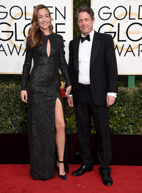 <div class='meta'><div class='origin-logo' data-origin='none'></div><span class='caption-text' data-credit='Jordan Strauss/Invision/AP'>Anna Elisabet Eberstein, left, and Hugh Grant arrive at the 74th annual Golden Globe Awards at the Beverly Hilton Hotel on Sunday, Jan. 8, 2017, in Beverly Hills, Calif.</span></div>
