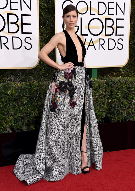<div class='meta'><div class='origin-logo' data-origin='none'></div><span class='caption-text' data-credit='Jordan Strauss/Invision/AP'>Jessica Biel arrives at the 74th annual Golden Globe Awards at the Beverly Hilton Hotel on Sunday, Jan. 8, 2017, in Beverly Hills, Calif.</span></div>