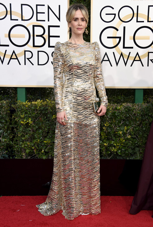 "<div class=""meta image-caption""><div class=""origin-logo origin-image none""><span>none</span></div><span class=""caption-text"">Sarah Paulson arrives at the 74th annual Golden Globe Awards at the Beverly Hilton Hotel on Sunday, Jan. 8, 2017, in Beverly Hills, Calif. (Jordan Strauss/Invision/AP)</span></div>"