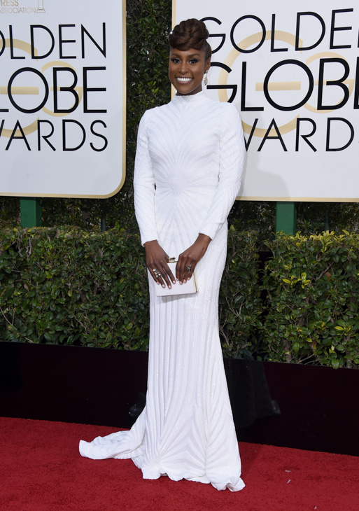 <div class='meta'><div class='origin-logo' data-origin='none'></div><span class='caption-text' data-credit='Jordan Strauss/Invision/AP'>Issa Rae arrives at the 74th annual Golden Globe Awards at the Beverly Hilton Hotel on Sunday, Jan. 8, 2017, in Beverly Hills, Calif.</span></div>