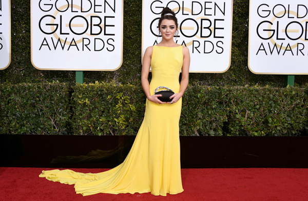 <div class='meta'><div class='origin-logo' data-origin='none'></div><span class='caption-text' data-credit='Jordan Strauss/Invision/AP'>Maisie Williams arrives at the 74th annual Golden Globe Awards at the Beverly Hilton Hotel on Sunday, Jan. 8, 2017, in Beverly Hills, Calif</span></div>