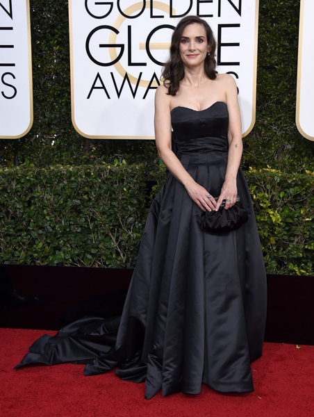 <div class='meta'><div class='origin-logo' data-origin='none'></div><span class='caption-text' data-credit='Jordan Strauss/Invision/AP'>Winona Ryder arrives at the 74th annual Golden Globe Awards at the Beverly Hilton Hotel on Sunday, Jan. 8, 2017, in Beverly Hills, Calif.</span></div>