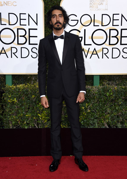 <div class='meta'><div class='origin-logo' data-origin='none'></div><span class='caption-text' data-credit='Jordan Strauss/Invision/AP'>Dev Patel arrives at the 74th annual Golden Globe Awards at the Beverly Hilton Hotel on Sunday, Jan. 8, 2017, in Beverly Hills, Calif.</span></div>